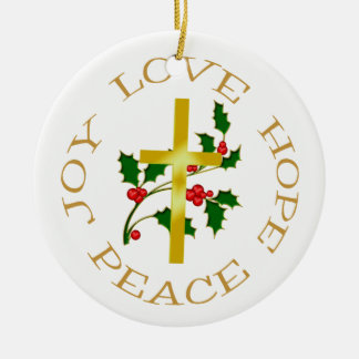 Gold Cross Holly Hope Ceramic Ornament