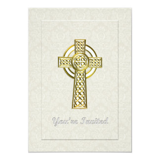 """Gold Cross on Ivory Damask You're Invited 5"""" X 7"""" Invitation Card"""