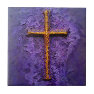 Gold cross on purple tile