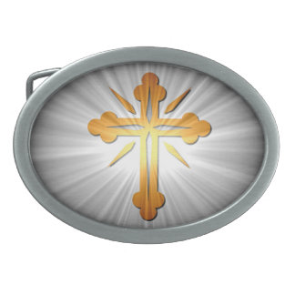 Gold Cross on Sun Rays Oval Belt Buckles
