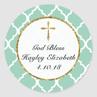 Gold Cross Personalized Religious Favour Tag, Mint Classic Round Sticker