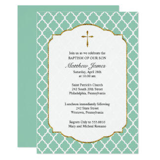 Gold Cross, Quatrefoil Baptism Invitation, Mint Card