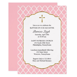 Gold Cross, Quatrefoil Baptism Invitation, Pink Card