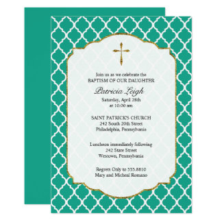 Gold Cross, Quatrefoil Baptism Invitation, Teal Card