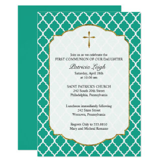 Gold Cross, Quatrefoil Communion Invitation, Teal Card