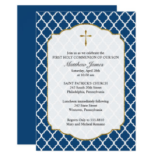 Gold Cross, Quatrefoil Religious Invitation, Blue Card