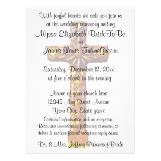 Gold Cross Religious Wedding Custom Invitations