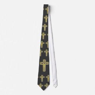 Gold cross spells Jesus Tie