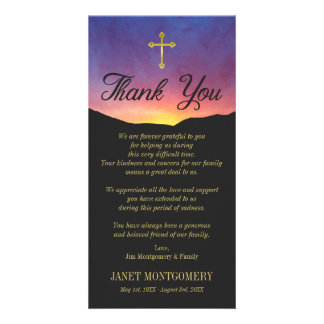 Gold Cross & Sunrise - Sympathy Thank You Photo Card Template