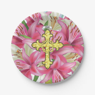 Gold Cross Thorns Lilies 7 Inch Paper Plate