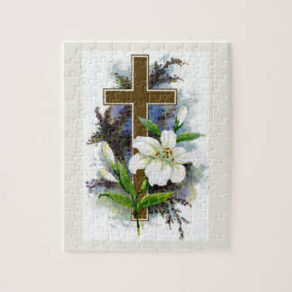 Gold Cross With White Flower Jigsaw Puzzle