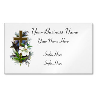 Gold Cross With White Flower Magnetic Business Card