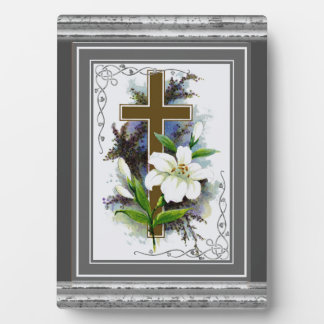 Gold Cross With White Flower Plaque