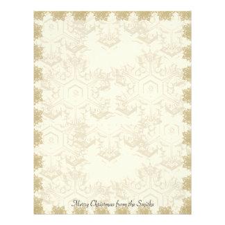 Gold Crosstitch Snowflake Letterhead Design