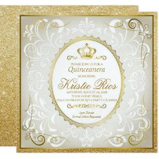 Gold Crown, Elegant, Quinceanera Invitation