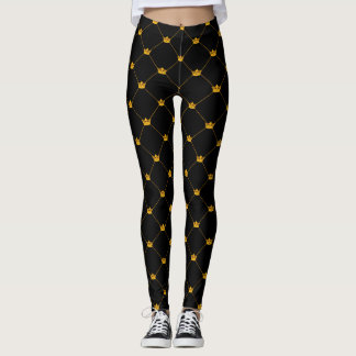 Gold Crown Lattice Leggings