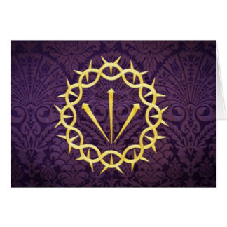 Gold Crown Of Thorns On Dark Purple Background Card