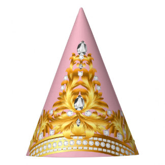 Gold Crown Party Hat-Pink Party Hat