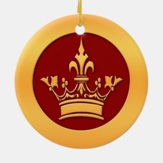 Gold Crown Round Ceramic Ornament