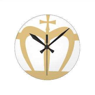 Gold Crown Round Clock