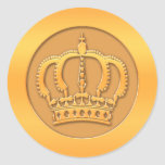 Gold Crown Round Stickers