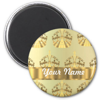 Gold crowns 2 inch round magnet