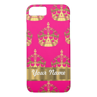 Gold crowns on hot pink iPhone 7 case