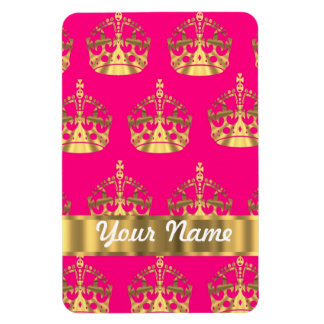 Gold crowns on hot pink magnet