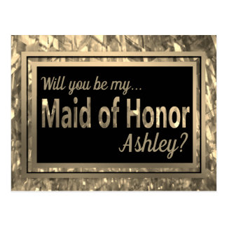 Gold Crystal Glitter - Be My Maid of Honor? Postcard