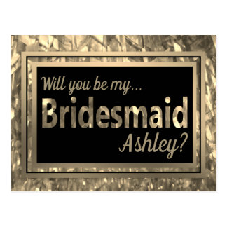 Gold Crystal Glitter - Will You Be My Bridesmaid? Postcard