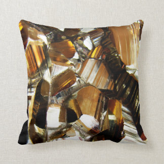 Gold Crystal Mineral Stone Throw Pillow