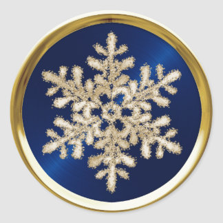 Gold Crystal Snowflake on Navy Blue Seal Round Sticker