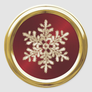 Gold Crystal Snowflake on Red Seal Round Sticker