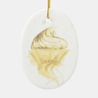 Gold cupcake ceramic ornament