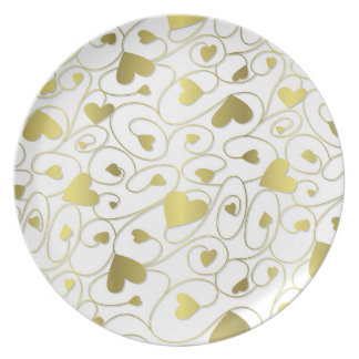 Gold curly hearts plate