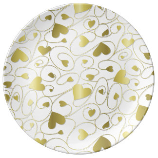 Gold curly hearts porcelain plates