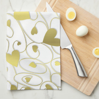 Gold curly hearts towels