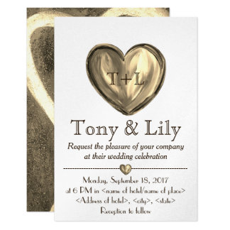 Gold Customizeable Heart Wedding Invitation RSVP