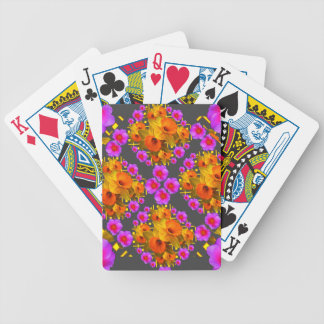 GOLD DAFFODILS FUCHSIA ROSES GREY BICYCLE PLAYING CARDS