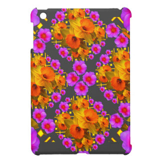 GOLD DAFFODILS FUCHSIA ROSES GREY iPad MINI CASE