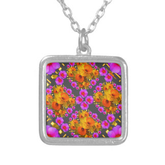 GOLD DAFFODILS FUCHSIA ROSES GREY SILVER PLATED NECKLACE