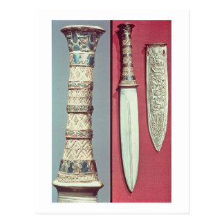 Gold dagger and sheath, Tutankhamun treasure, c.13 Postcard