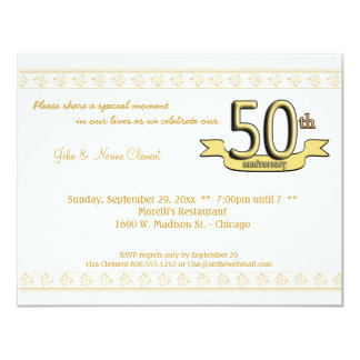 Gold Damask 50th Anniversary Celebration Invite