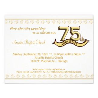 Gold Damask 75th Anniversary Celebration Invite