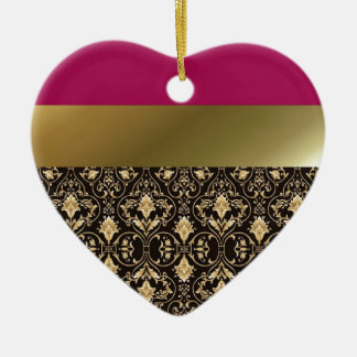Gold damask and Red Ceramic Heart Ornament