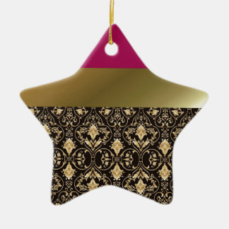 Gold damask and Red Ceramic Star Ornament
