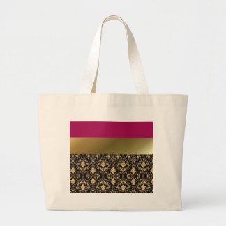 Gold damask and Red Large Tote Bag