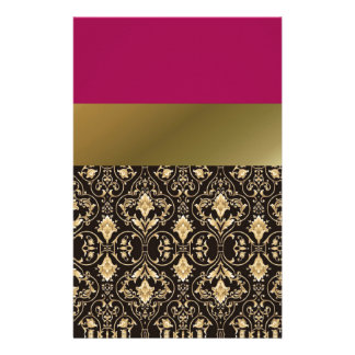 Gold damask and Red Personalized Stationery