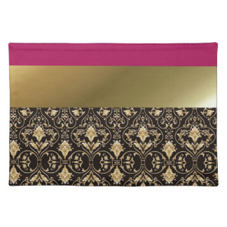 Gold damask and Red Place Mats