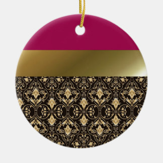 Gold damask and Red Round Ceramic Ornament